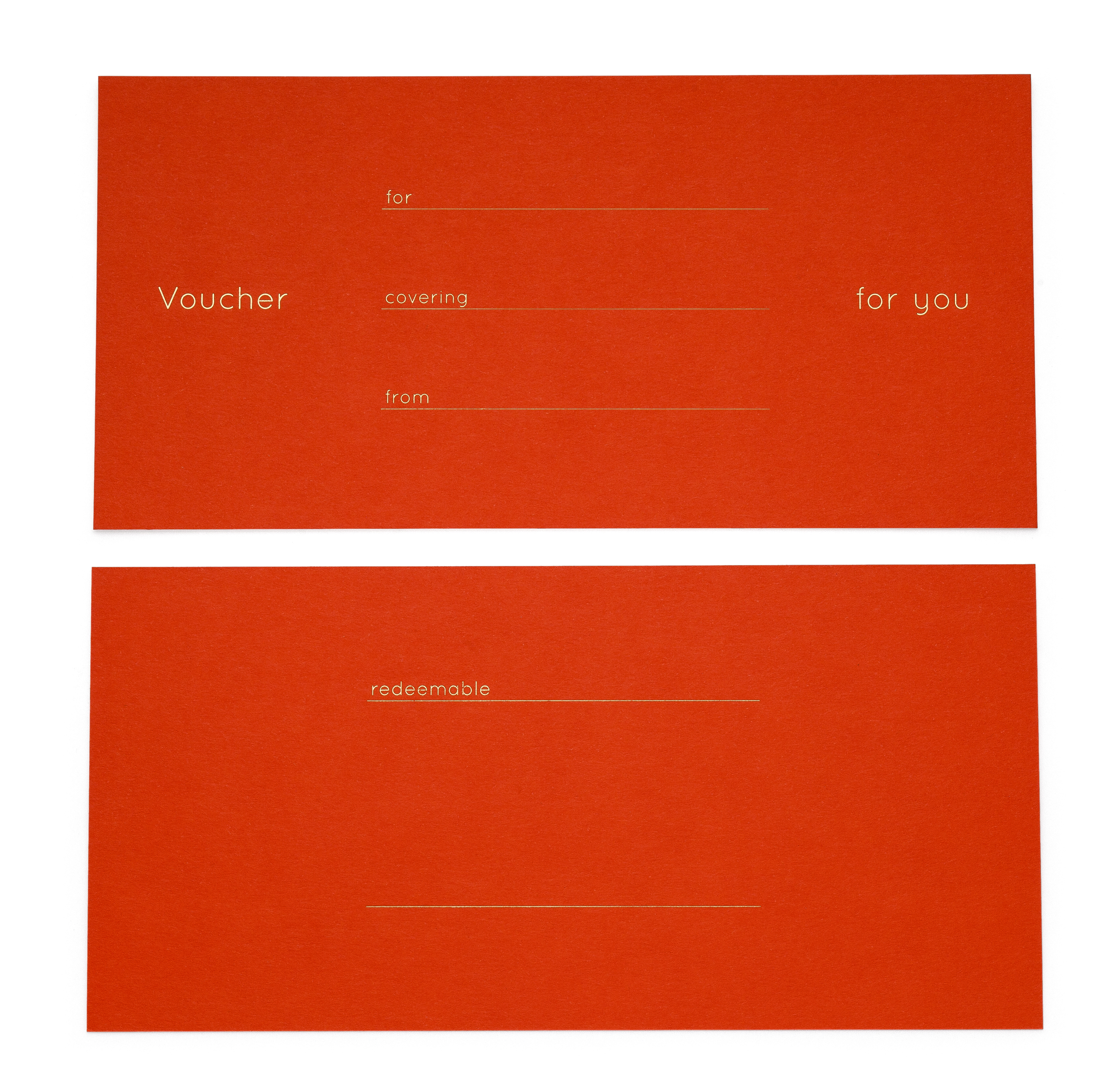 VOUCHER SET, 4 pcs., with gold embossing in English