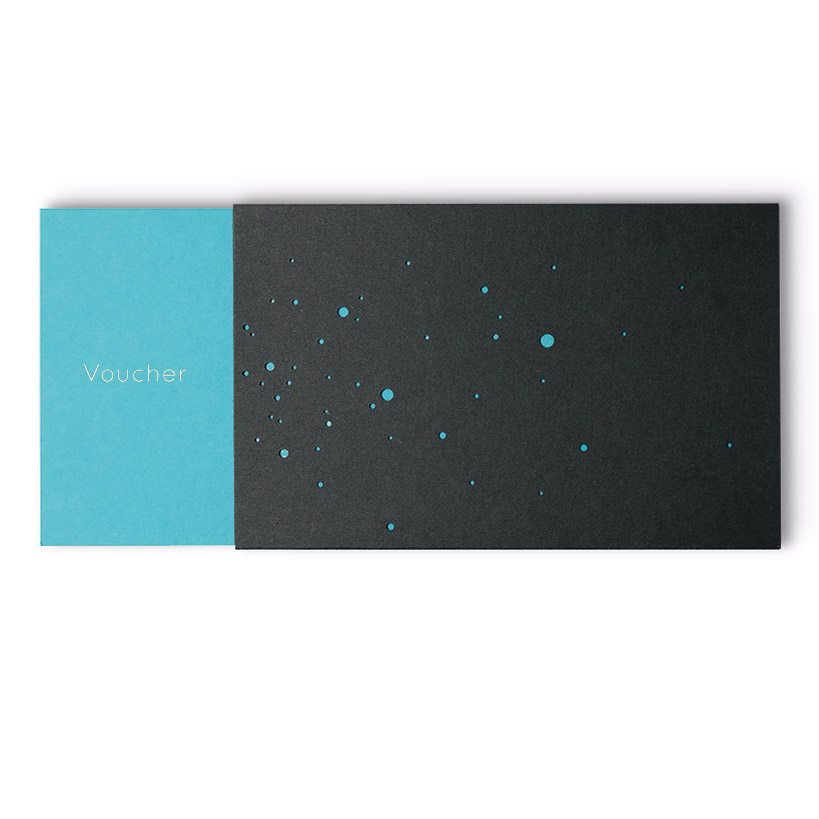 VOUCHER with gold embossing in English, turquoise