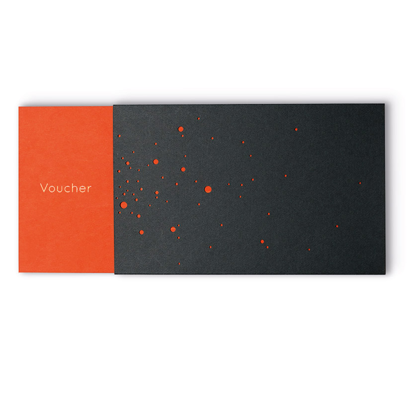 VOUCHER with gold embossing in English, orange