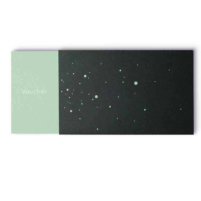 VOUCHER with gold embossing in English, mint green