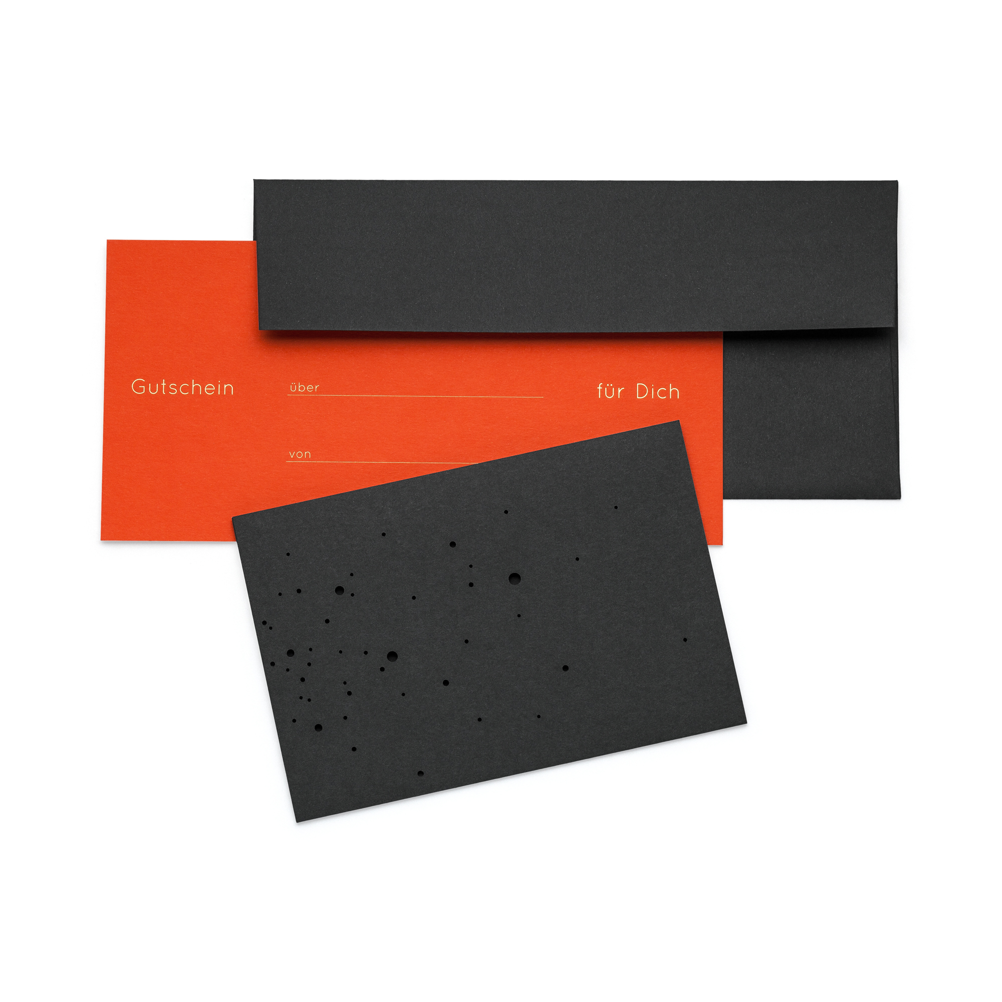 VOUCHER SET, 4 pcs., with gold embossing in German