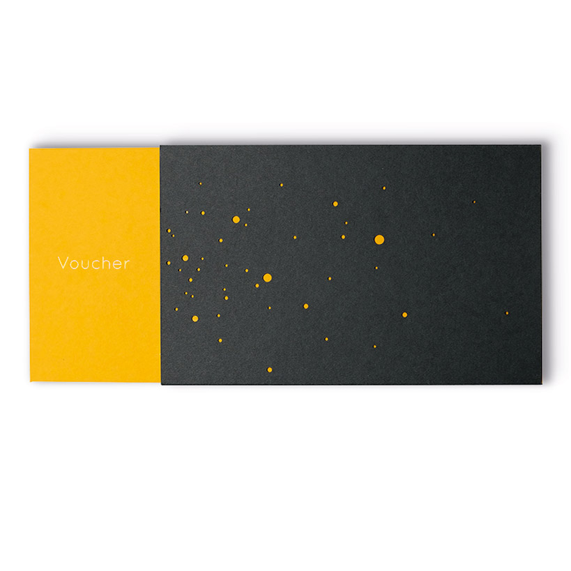 VOUCHER with gold embossing in English, yellow