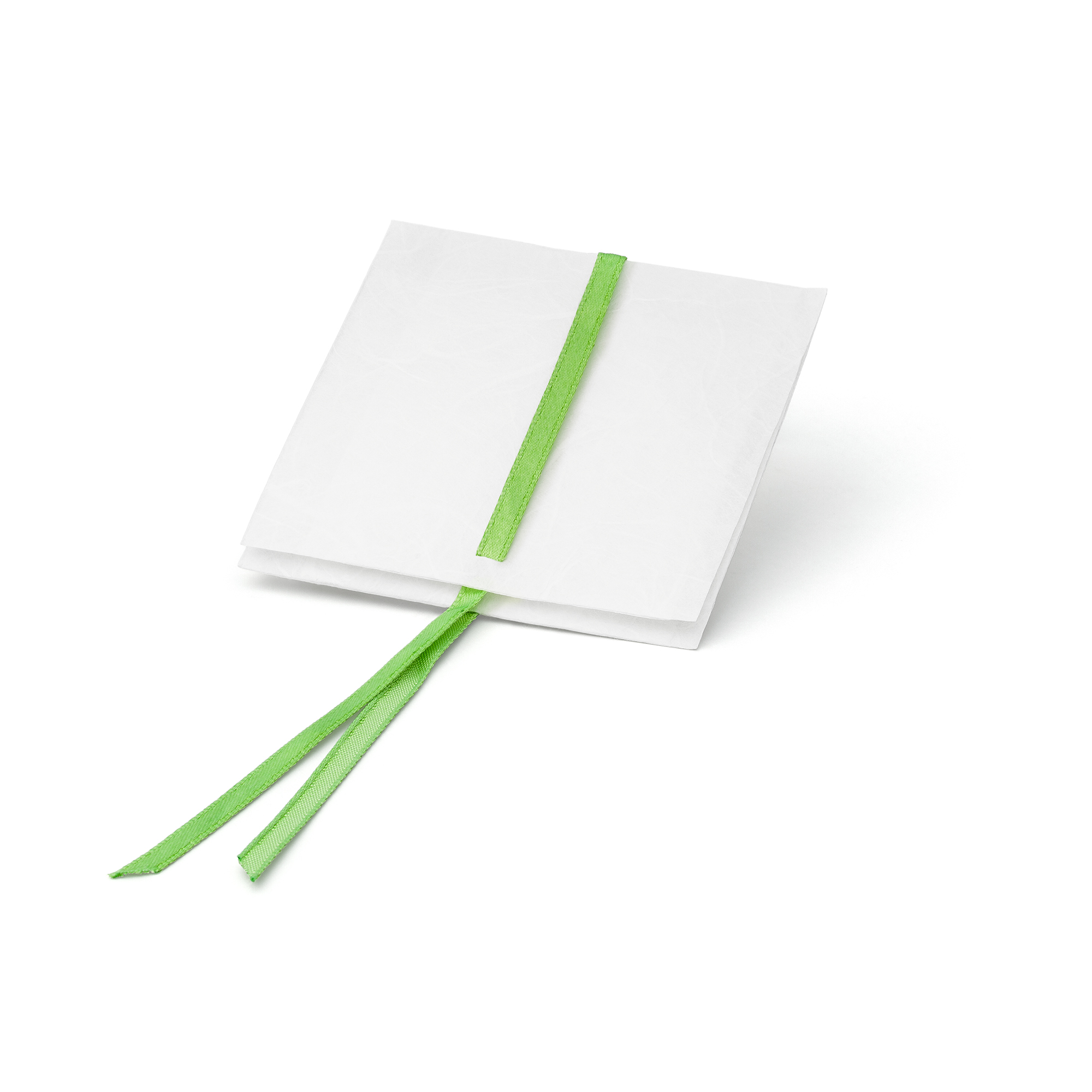 PAPERBAG small white with green ribbon